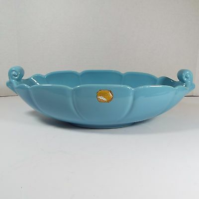 Vintage Large Oval Blue Abingdon Pottery Bowl with Stickers