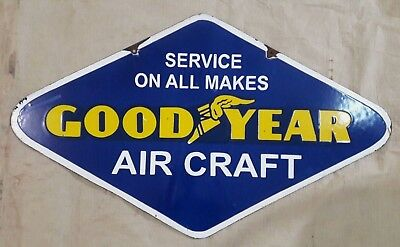 "Porcelain GOODYEAR AIRCRAFT Sign SIZE 18"" X 30"" INCHES  2 SIDED"