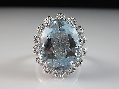 14K White Gold 14.48ct Blue Topaz Ring Double Rope Border Fine Jewelry Size 6