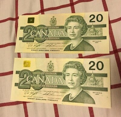 1991 Canadian $20 Dollar Bank Note Bills - 2 Consecutive
