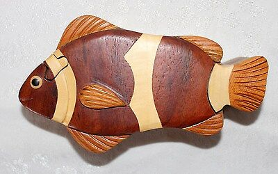 CLOWN FISH Handmade Carved Wooden Puzzle Trinket Box w/ Sliding Lid NEW Storage