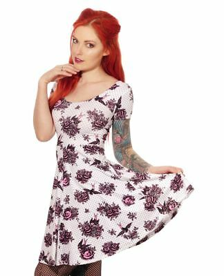 Liquorbrand Rose Sparrow Dress S-3XL Retro Gothic Rockabilly 50s 60s Skater
