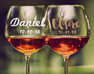 1 x Custom Name Date Wedding Wine Glass Mug Cup Decal Sticker Bridal Party Gift