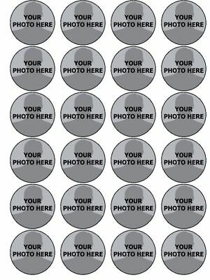 YOUR OWN PHOTO IMAGE PERSONALISED CUSTOM edible cupcake Toppers Wafer Icing x 24