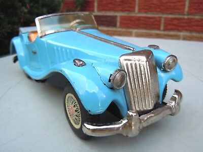 Old 1950's Japan Yonezawa Tin Friction MG Roadster Car. EXCELLENT .WORKS. NO RES