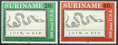 Surinam stamps - American Bicentennial - Divided Snake_1976 - Lightly Hinged.
