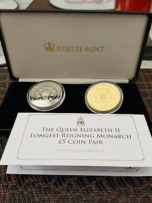 2015 ELIZABETH II LONGEST REIGNING MONARCH SILVER  PROOF £5 Coin PAIR CASED  COA