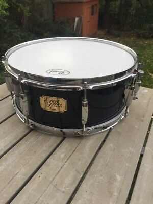 "Free P&P. A 14x5"" Pearl Export Wooden Snare Drum. Midnight Blue Finish"