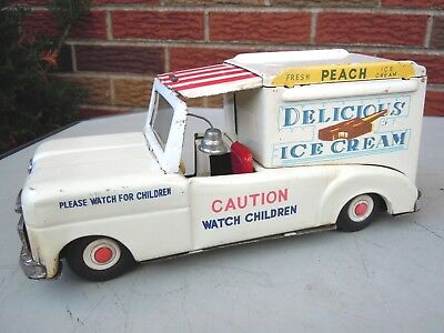 Old Japan Nomura 1960 Tin Friction Chevrolet Ice Cream Truck.  A+. WORKS.NO RES.