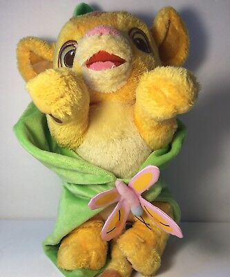 "12"" Lion King Simba Plush Stuffed Animal Wrapped In Leaf Blanket Character"