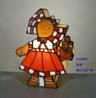 *limited* Tiffany Style Stained Glass Leadlight Gingerbread Girl Table Lamp
