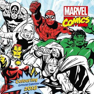 Marvel Comics Colouring Official 2018 Square Wall Calendar Calender Hulk IronMan