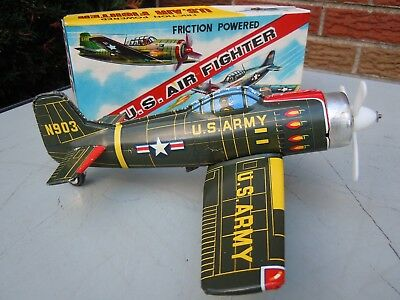 1954 Japan KA Tin Friction U.S. Air Fighter WW ll  Airplane in BOX. A+. WORKS.NR