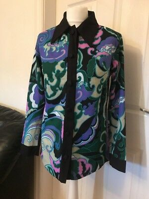 Fab 60's / 70's Flower Power Psychedelic Shirt / Blouse Size 40 / Uk 12