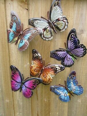 Garden Butterfly Wall Art Set Of SIX Garden Butterfly Ornaments Brand New