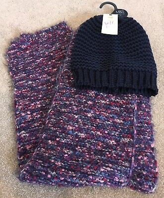 M&S Scarf And Hat Set Purple And Navy BNWT