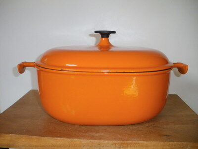 Ancienne cocotte LE CREUSET orange n° 29 ENZO MARY 1970....