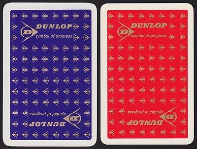 2 Single VINTAGE Swap/Playing Cards ADV DUNLOP TYRES TIRES RED & BLUE with GOLD