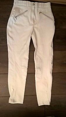 Mark Todd White Competition Breeches Suede Knee Patches Size 26