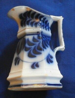 Old Flow Blue Chips Cracks And Repair Pitcher 8 Inches Tall