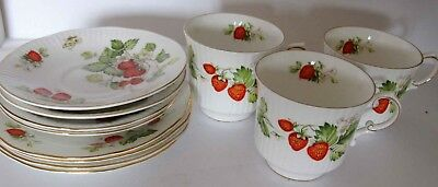 Queens's Virginia Strawberry Cup / Saucer / Plate Trio (3 sets)