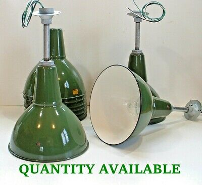 "1-12"" BENJAMIN Porcelain Industrial Pendant Green Vtg Enamel Barn Lamp Light +"