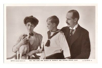 Rare Royalty Postcard.The king and Queen Maud of Norway with Prince Olaf
