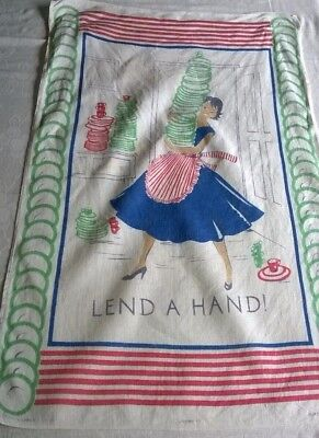4 tea towels -1950's  'Lend a Hand' & 3 others 1970's/80's Irish Linen