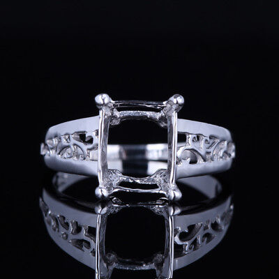 Solid 10K White Gold Antique Engraving Semi Mount Unique Ring 10X8Mm Square Cut