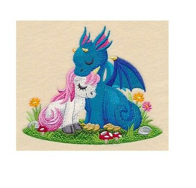 Completed Machine Embroidered Dragons Magical Cuddles