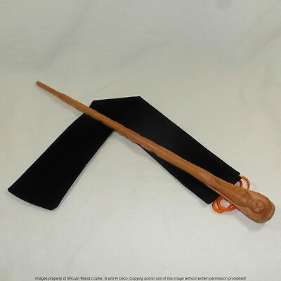 "16"" Hand Carved Mahogany Wood DE Snake Magic Wand Wizard Cosplay w/ Velvet Bag"