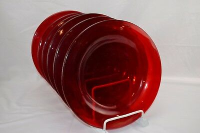 Set of 6 Ruby Red Dinner Plates Smooth Back Straw Marks Some utensil marks