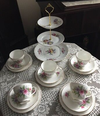 Pretty Vintage Duchess Bone China Tea Set & Mismatched Cake Stand