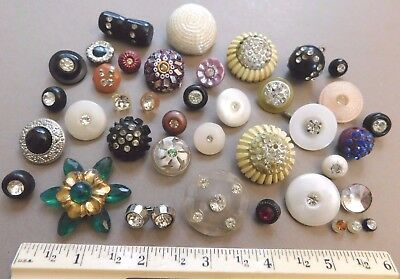 Vintage Lot Rhinestone Buttons Mix Plastic Celluloid Tiny To Large