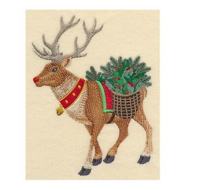 Completed Machine Embroidered Wreathed in Christmas Rudolph