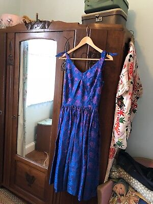 Original 1950s / 60s Blue/pink Dress Size 6