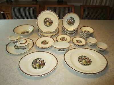 Collection of 41 Pieces of The Cronin China Co. Victorian Dance Scene