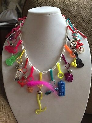Vintage New 80's Plastic Bell Charm Necklace Retro Clip On Party 1980