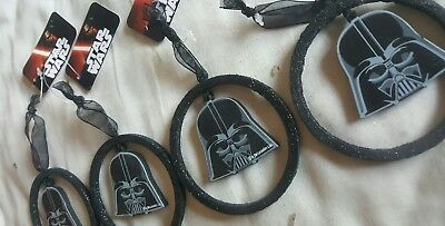 x4 Star Wars Darth Vader Black Christmas Decorations Official with ribbon