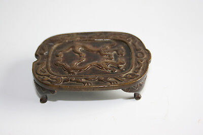 Antique Ming Dynasty Chinese Bronze Carved Dragon Small Stand