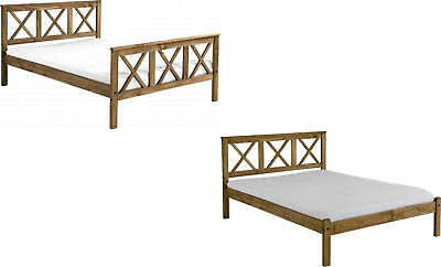 Solid 4ft6 Double Bed Distressed Waxed Pine - High Foot or Low Foot End Frame