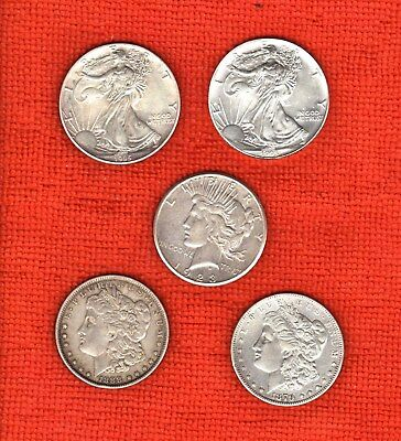 n°2) LOT  - 5 PIECES  - 1 DOLLAR - USA - ARGENT -