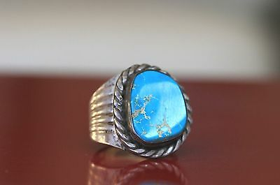 Navajo old Silver Turquoise Ring Size 11 Native American 13 grams