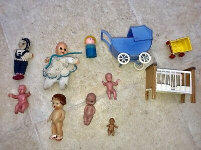 Vintage Baby William Doll & Old Rubber & Plastic Dolls & Carriage
