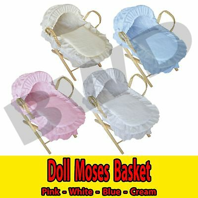 Broderie Anglaise Doll Moses Basket with Wooden Stand Xmas Toy Gift