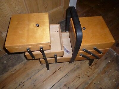 Vintage 1950s  or 60s Wooden Sewing Box Concertina Cantilever Style