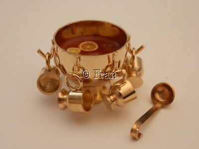 Dolls house food: Brass punch bowl of christmas mulled wine -By Fran