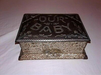 Our Baby Vintage or Antique Keepsake Box - Enamel Finished