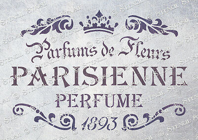 Paris Perfume A5 STENCIL PP Vintage French Chic Furniture etc SUPERIOR 250 MYLAR