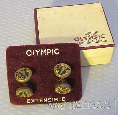20s Paris EIFFEL TOWER CUFFLINKS IN BOX Olympic Extensible retractable button